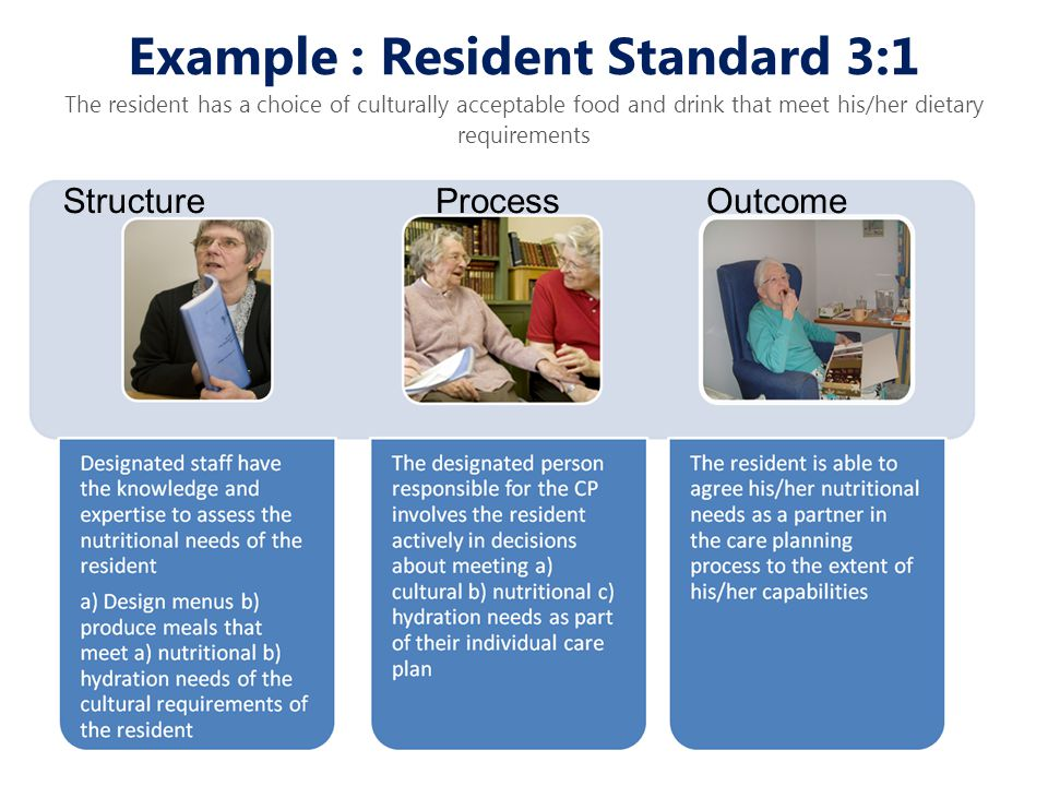 Example : Resident Standard 3:1 The resident has a choice of culturally acceptable food and drink that meet his/her dietary requirements StructureProc