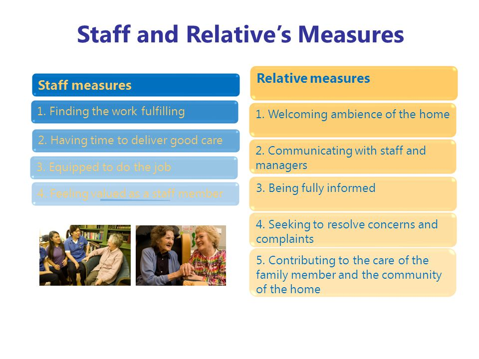 Staff and Relative's Measures Staff measures 4. Feeling valued as a staff member 3.