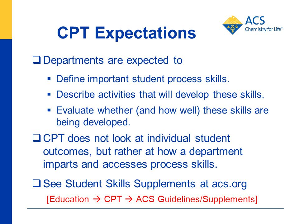 CPT Expectations  Departments are expected to  Define important student process skills.