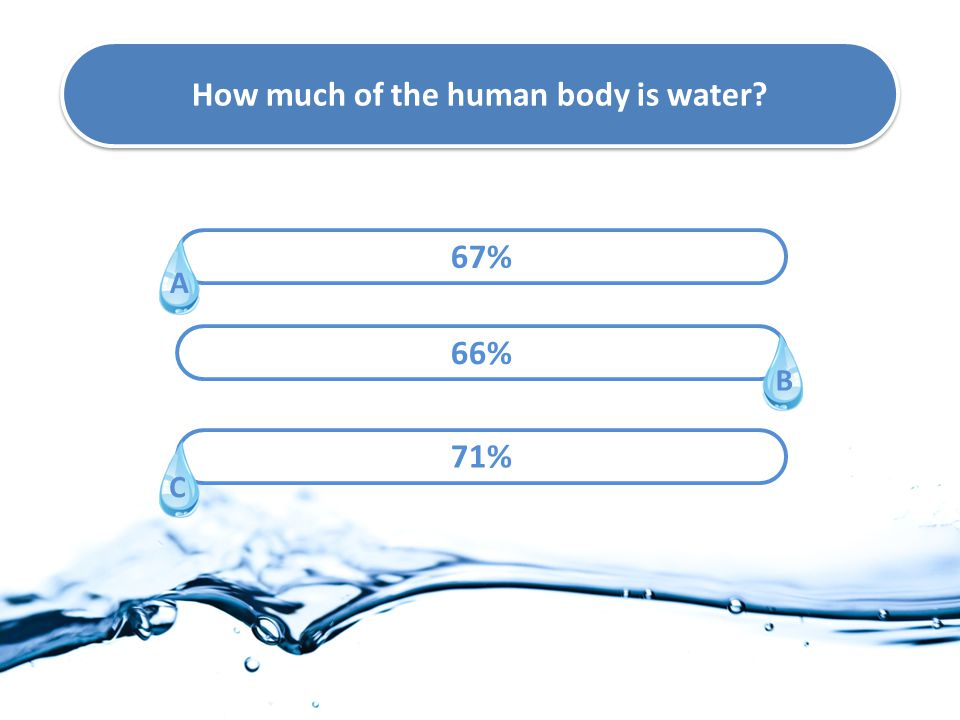 How much of the human body is water? 67% 66% 71% A C B
