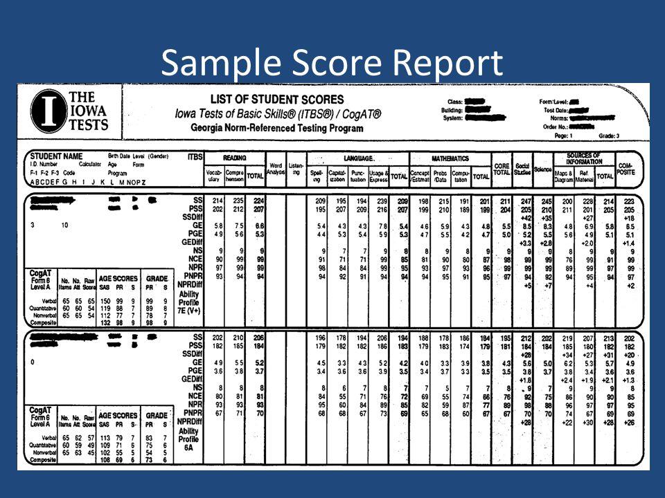 Sample Score Report
