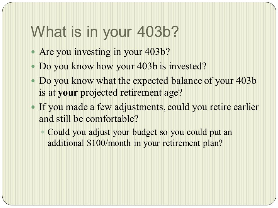What is in your 403b. Are you investing in your 403b.