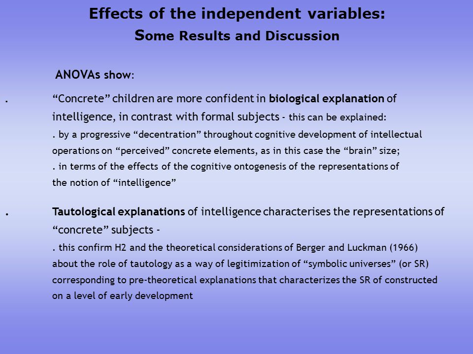 Effects of the independent variables: S ome Results and Discussion ANOVAs show :.