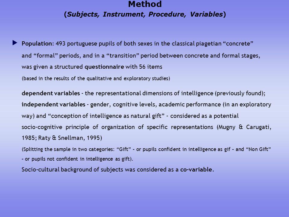 Results - Social Representations (SR) of intelligence  SR of intelligence ( 5 main factors/dimensions ).Studying/motivation (ex.