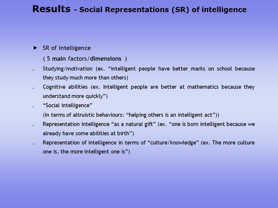 Results - Social Representations (SR) of intelligence  SR of intelligence ( 5 main factors/dimensions ).Studying/motivation (ex.