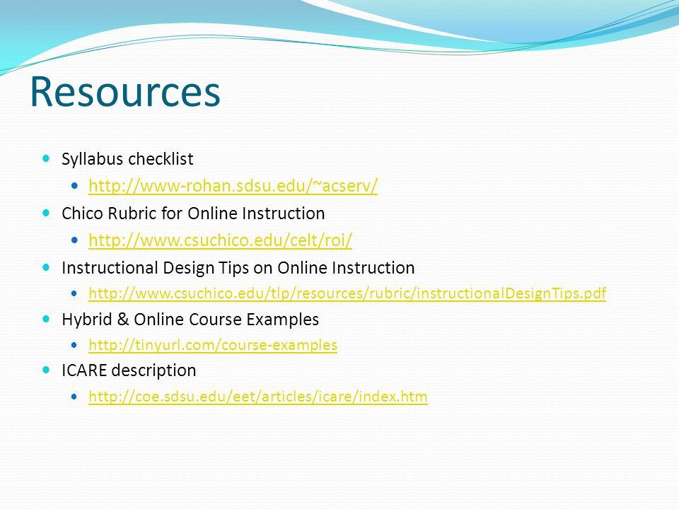 Resources Syllabus checklist http://www-rohan.sdsu.edu/~acserv/ Chico Rubric for Online Instruction http://www.csuchico.edu/celt/roi/ Instructional De