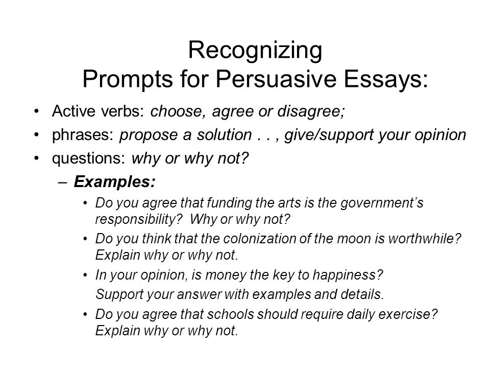 persuasive essay main objectives choose a position on an issue  recognizing prompts for persuasive essays active verbs choose agree or disagree phrases