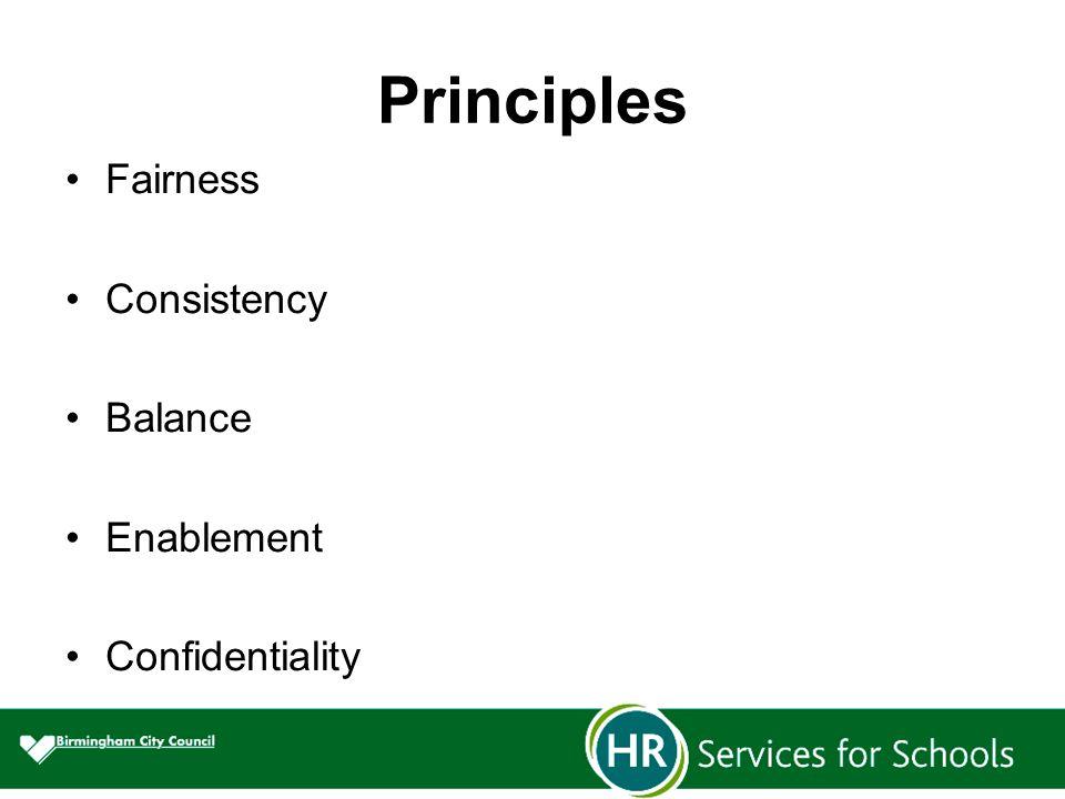 Principles Fairness Consistency Balance Enablement Confidentiality