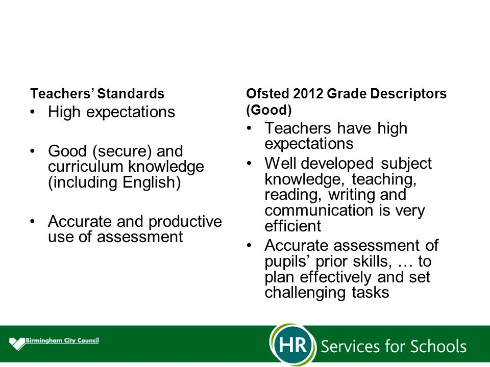 Teachers' Standards High expectations Good (secure) and curriculum knowledge (including English) Accurate and productive use of assessment Ofsted 2012 Grade Descriptors (Good) Teachers have high expectations Well developed subject knowledge, teaching, reading, writing and communication is very efficient Accurate assessment of pupils' prior skills, … to plan effectively and set challenging tasks