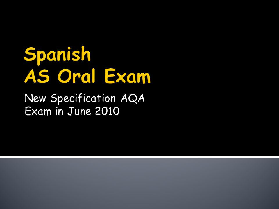New Specification AQA Exam in June 2010