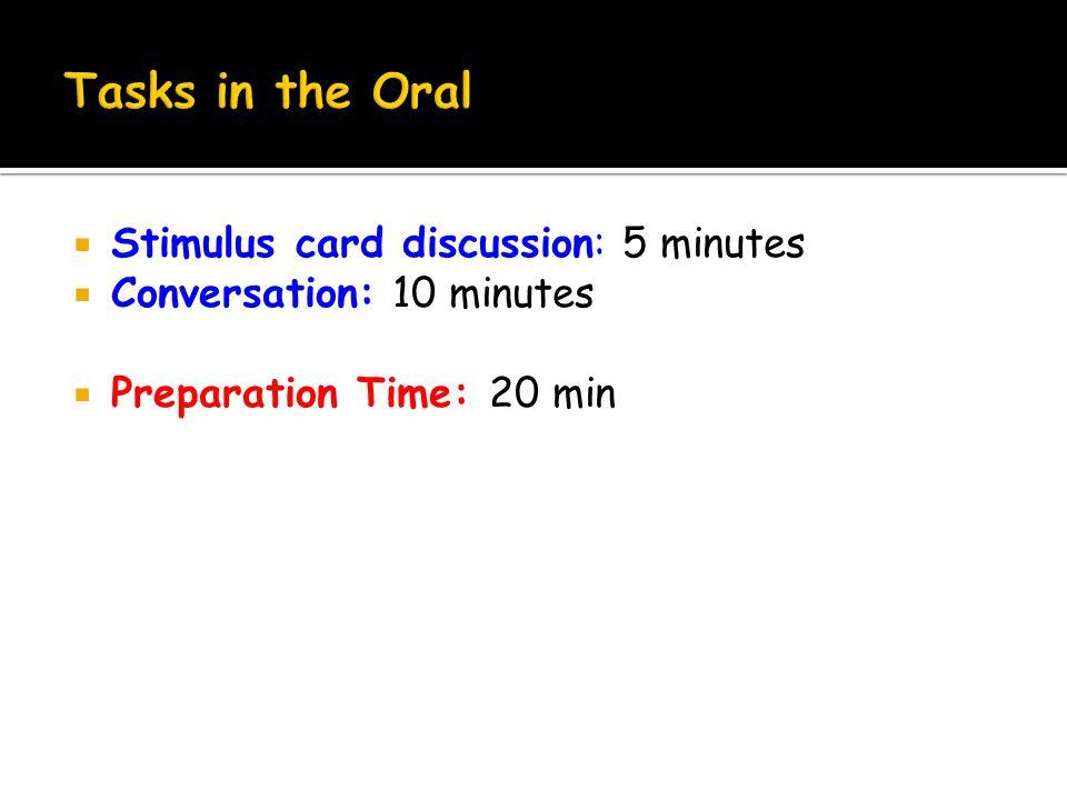 Stimulus card discussion: 5 minutes  Conversation: 10 minutes  Preparation Time: 20 min
