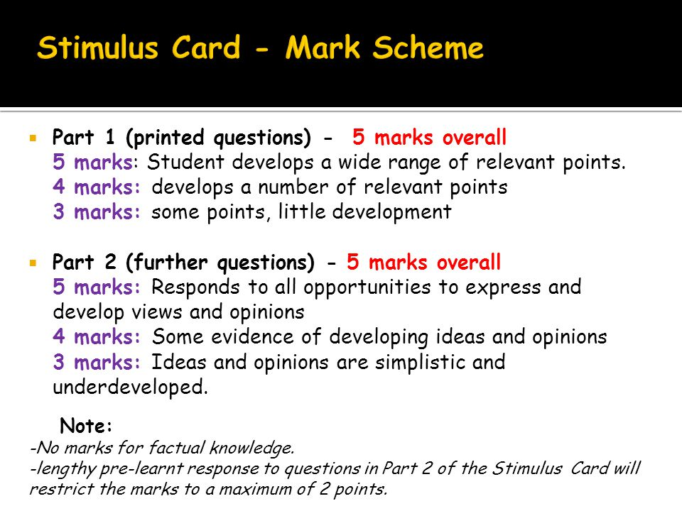  Part 1 (printed questions) - 5 marks overall 5 marks: Student develops a wide range of relevant points.