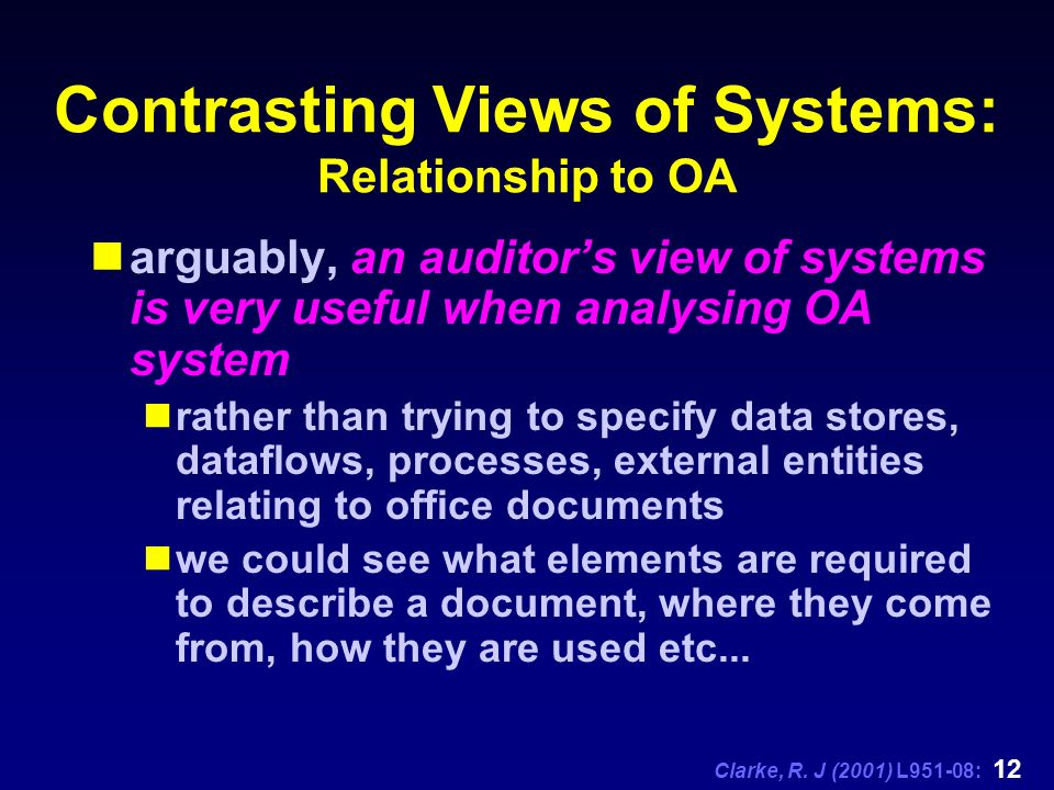 Clarke, R. J (2001) L951-08: 12 Contrasting Views of Systems: Relationship to OA arguably, an auditor's view of systems is very useful when analysing