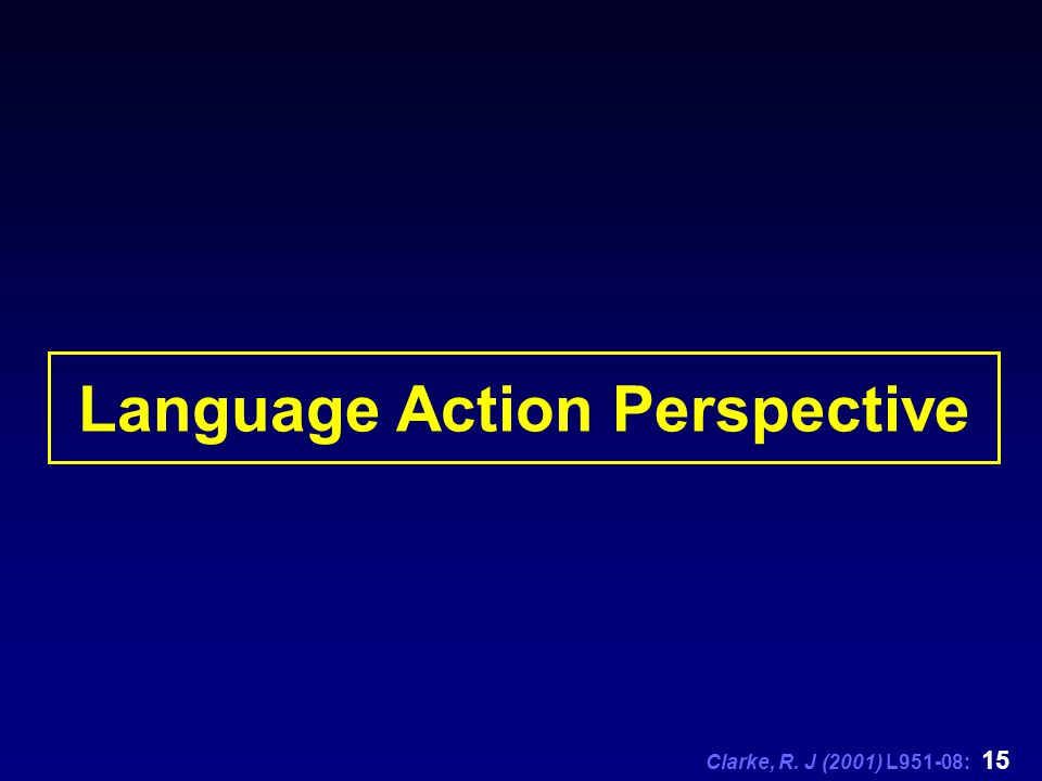 Clarke, R. J (2001) L951-08: 15 Language Action Perspective