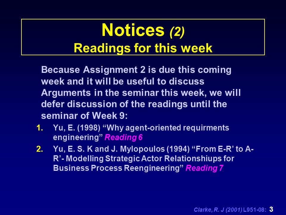 Clarke, R. J (2001) L951-08: 3 Notices (2) Readings for this week Because Assignment 2 is due this coming week and it will be useful to discuss Argume