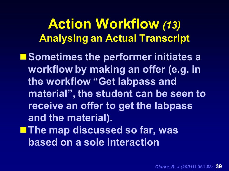 Clarke, R. J (2001) L951-08: 39 Action Workflow (13) Analysing an Actual Transcript Sometimes the performer initiates a workflow by making an offer (e