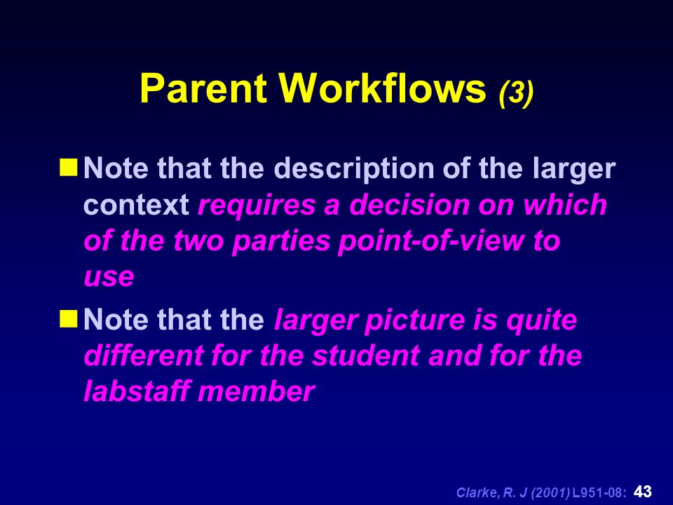 Clarke, R. J (2001) L951-08: 43 Parent Workflows (3) Note that the description of the larger context requires a decision on which of the two parties p