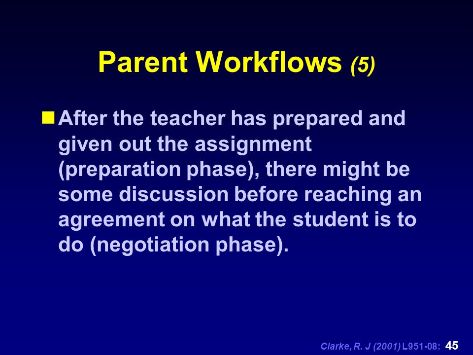 Clarke, R. J (2001) L951-08: 45 Parent Workflows (5) After the teacher has prepared and given out the assignment (preparation phase), there might be s