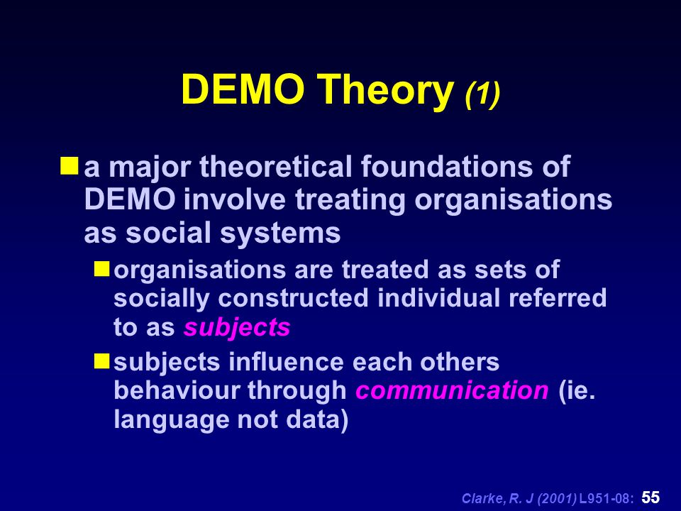 Clarke, R. J (2001) L951-08: 55 DEMO Theory (1) a major theoretical foundations of DEMO involve treating organisations as social systems organisations