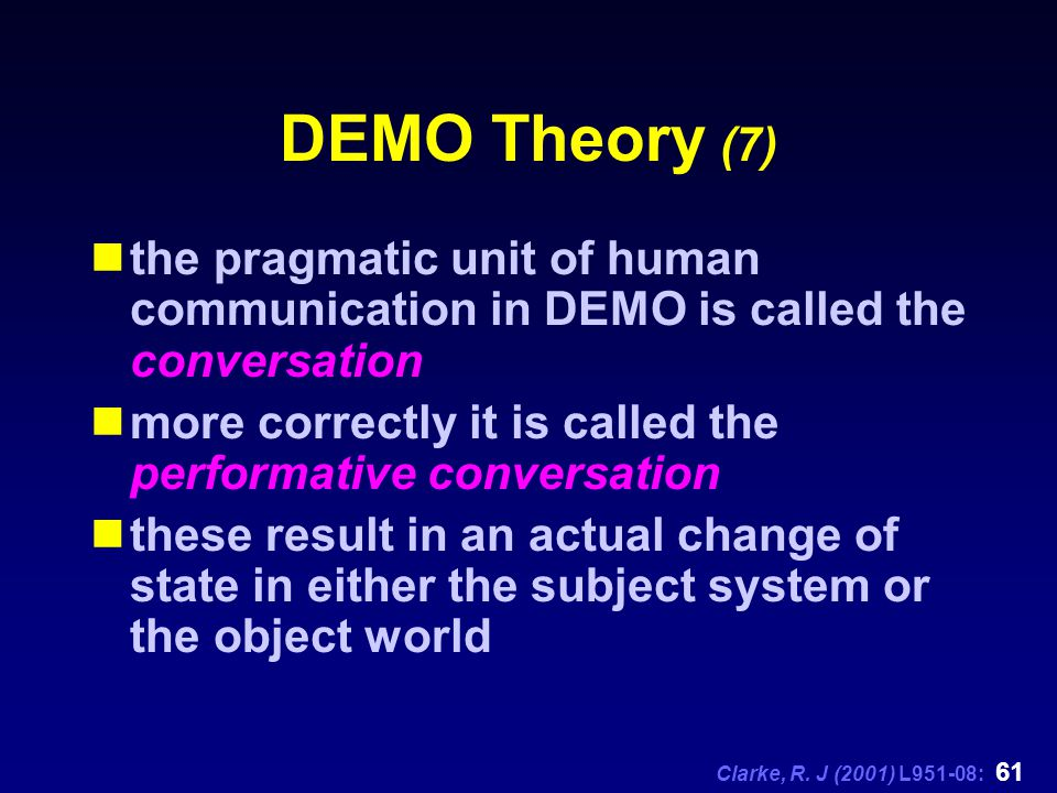 Clarke, R. J (2001) L951-08: 61 DEMO Theory (7) the pragmatic unit of human communication in DEMO is called the conversation more correctly it is call