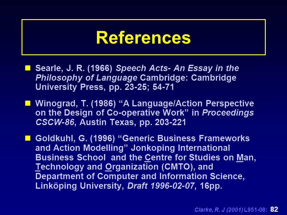 Clarke, R. J (2001) L951-08: 82 References Searle, J. R. (1966) Speech Acts- An Essay in the Philosophy of Language Cambridge: Cambridge University Pr