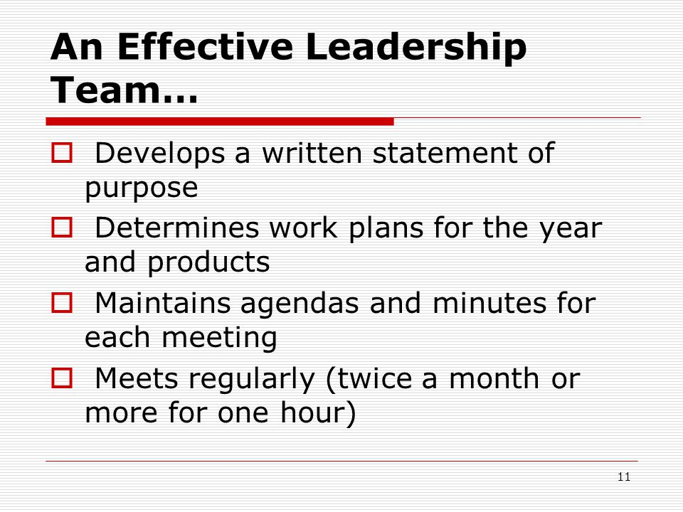 An Effective Leadership Team…  Develops a written statement of purpose  Determines work plans for the year and products  Maintains agendas and minu