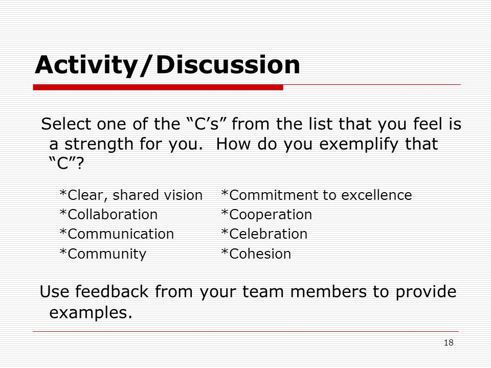 "Activity/Discussion Select one of the ""C's"" from the list that you feel is a strength for you. How do you exemplify that ""C""? *Clear, shared vision *C"