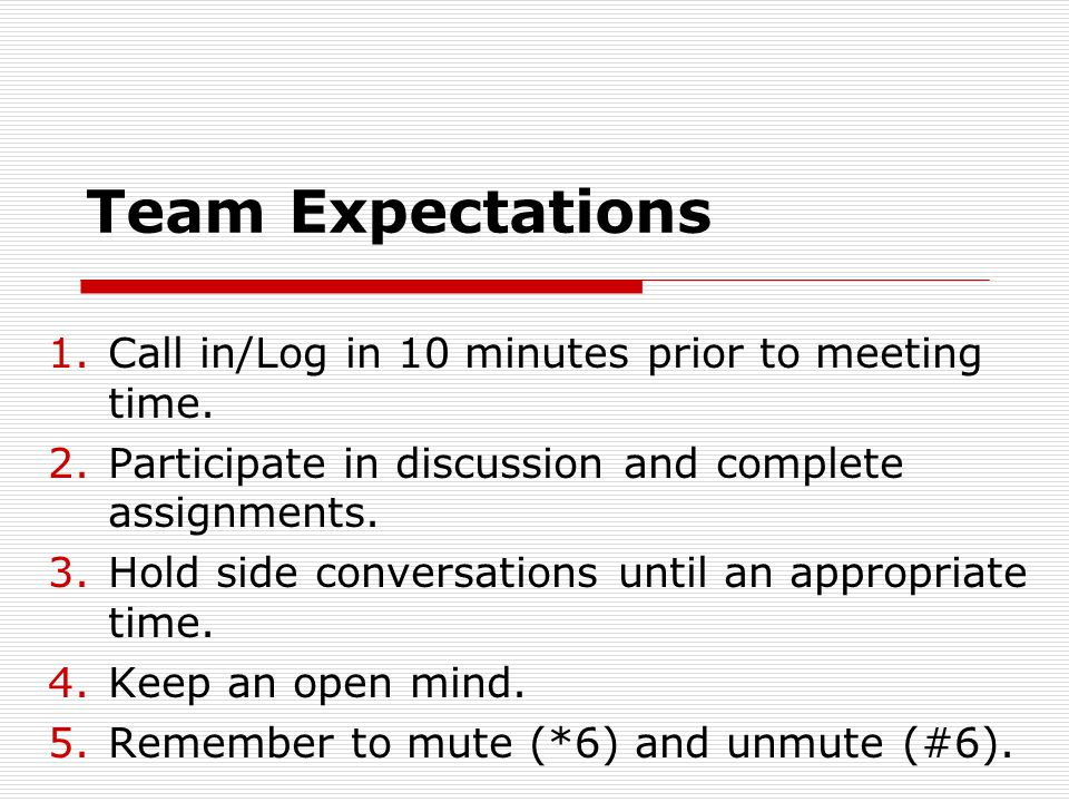 Team Expectations 1.Call in/Log in 10 minutes prior to meeting time. 2.Participate in discussion and complete assignments. 3.Hold side conversations u