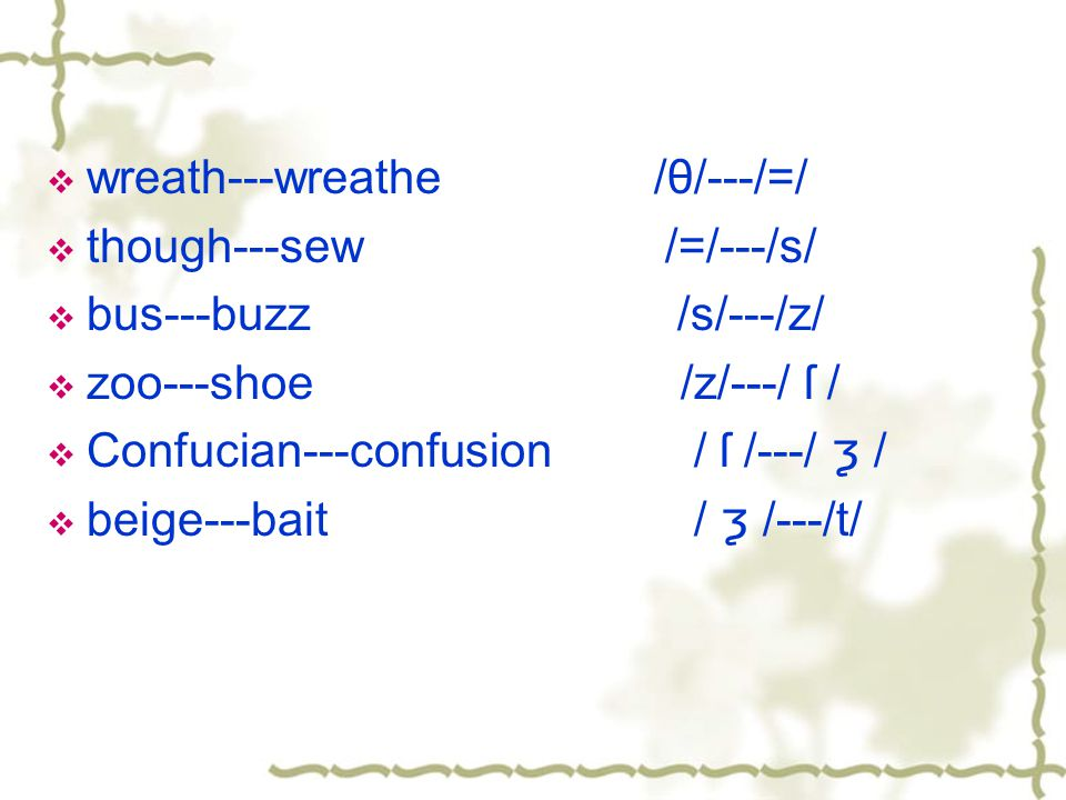 Exercise of identifying minimal pairs 1.sun/son 2.