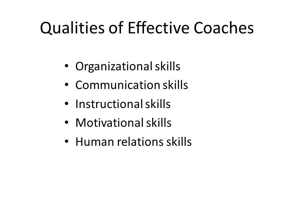 Qualities of Effective Coaches Organizational skills Communication skills Instructional skills Motivational skills Human relations skills