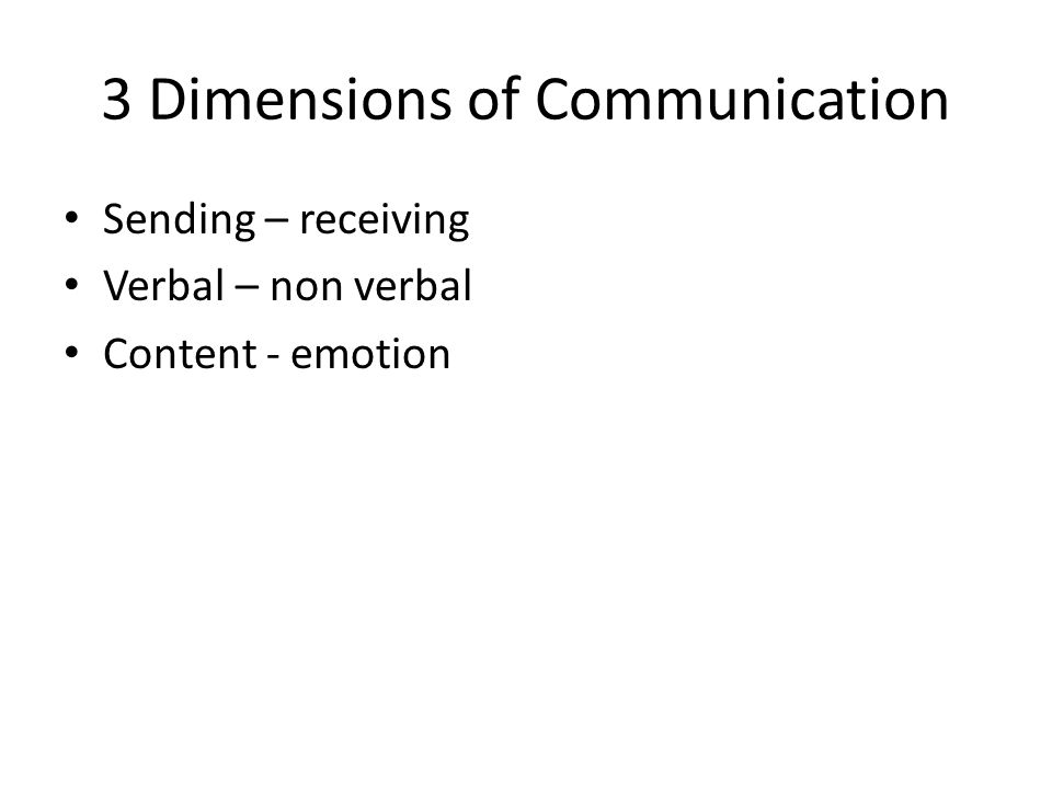3 Dimensions of Communication Sending – receiving Verbal – non verbal Content - emotion