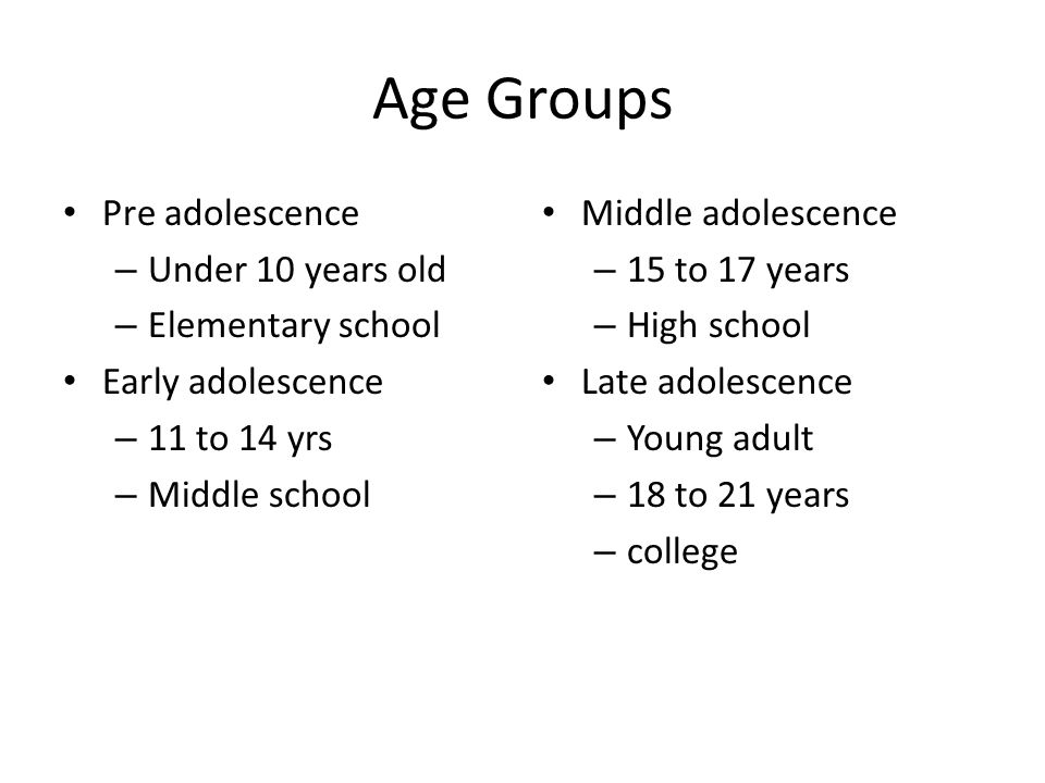 Age Groups Pre adolescence – Under 10 years old – Elementary school Early adolescence – 11 to 14 yrs – Middle school Middle adolescence – 15 to 17 yea