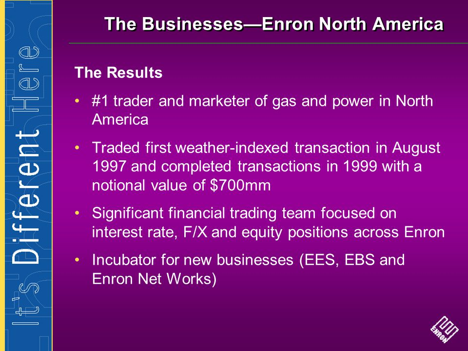 The Businesses—Enron North America The Results #1 trader and marketer of gas and power in North America Traded first weather-indexed transaction in Au