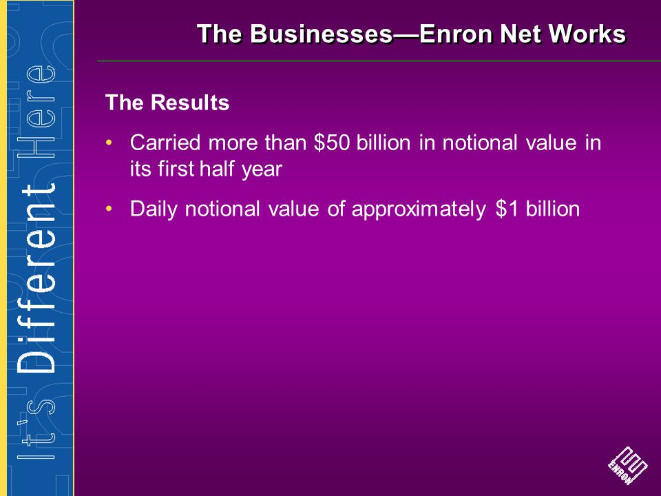The Businesses—Enron Net Works The Results Carried more than $50 billion in notional value in its first half year Daily notional value of approximatel
