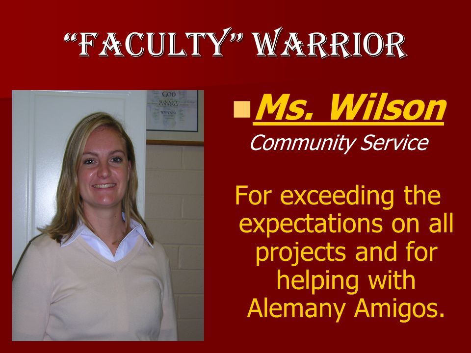 Warrior of Character Ryan Allen Senior For being a role model for disadvantaged children by helping with Alemany Amigos and at Guardian Angel School.