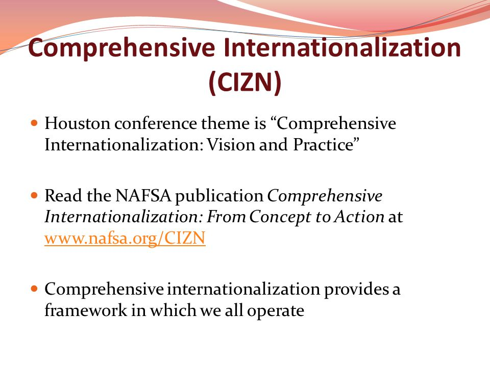 Comprehensive Internationalization (CIZN) Houston conference theme is Comprehensive Internationalization: Vision and Practice Read the NAFSA publication Comprehensive Internationalization: From Concept to Action at www.nafsa.org/CIZN www.nafsa.org/CIZN Comprehensive internationalization provides a framework in which we all operate