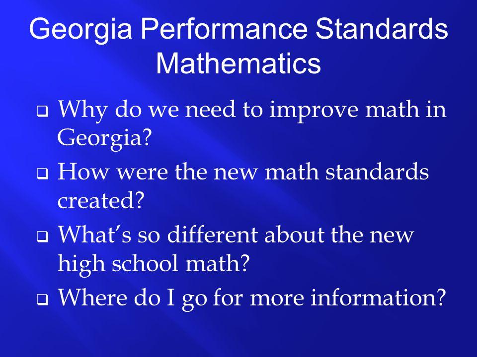 Georgia's Student Achievement in Math Percent Passing CRCT (5 th & 8 th ) or E-GHSGT (11 th )