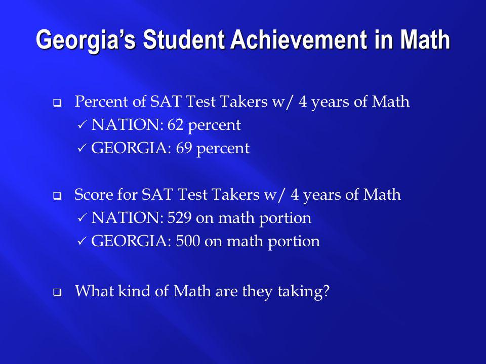 Course Work NATIONGEORGIA Algebra517495 Geometry519498 Trigonometry553520 Precalculus571557 Calculus608584 Other Math Courses 510487 Computer Math 539479 AP/Honors Courses 599585 Georgia's Student Achievement in Math