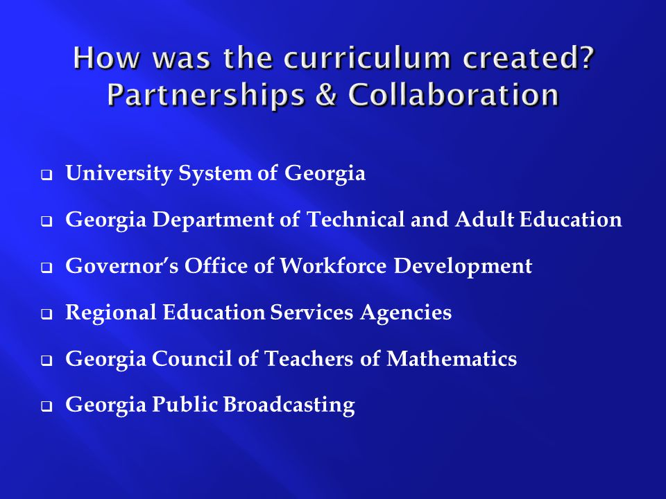 How was the curriculum created.
