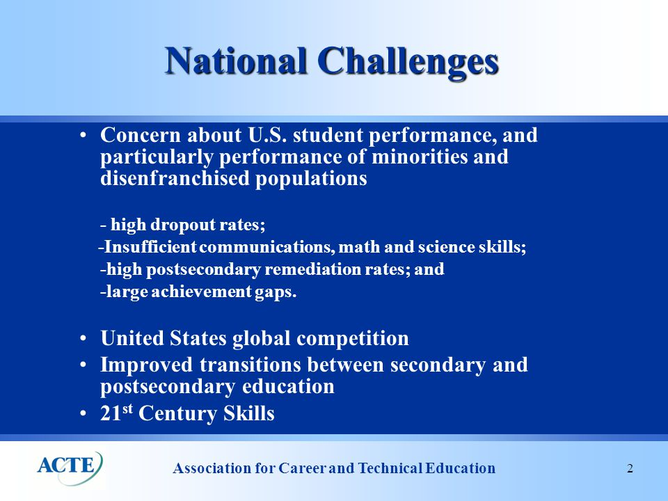 Association for Career and Technical Education 3 Political Environment  Economy taking center stage in every discussion  Calls for bi-partisanship, but in many ways more partisan than ever  Very ambitious agenda ahead –Housing crisis –Credit market issues –Healthcare –Energy –Immigration