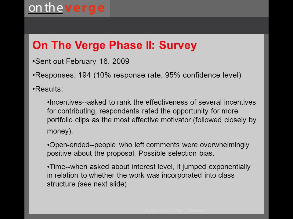 On The Verge Phase II: Survey Sent out February 16, 2009 Responses: 194 (10% response rate, 95% confidence level) Results: Incentives--asked to rank the effectiveness of several incentives for contributing, respondents rated the opportunity for more portfolio clips as the most effective motivator (followed closely by money).