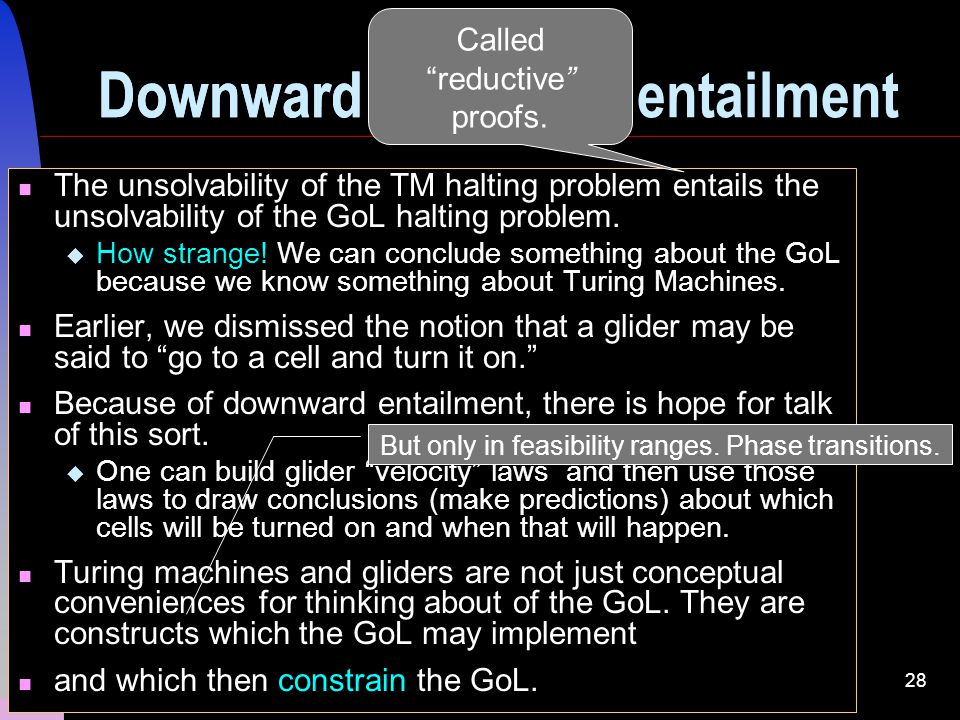 28 Downward causation The unsolvability of the TM halting problem entails the unsolvability of the GoL halting problem.