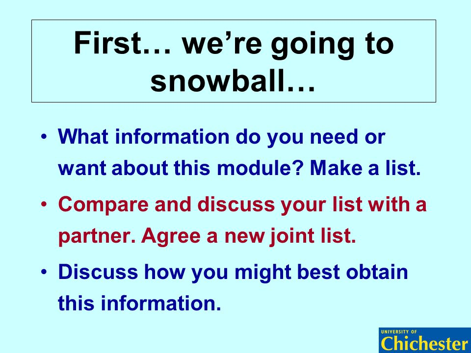 First… we're going to snowball… What information do you need or want about this module? Make a list. Compare and discuss your list with a partner. Agr
