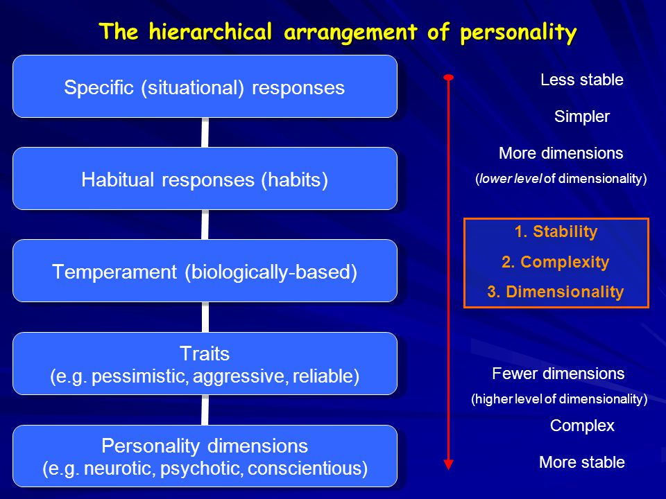 The hierarchical arrangement of personality More stable Simpler Complex Less stable Fewer dimensions (higher level of dimensionality) More dimensions (lower level of dimensionality) 1.