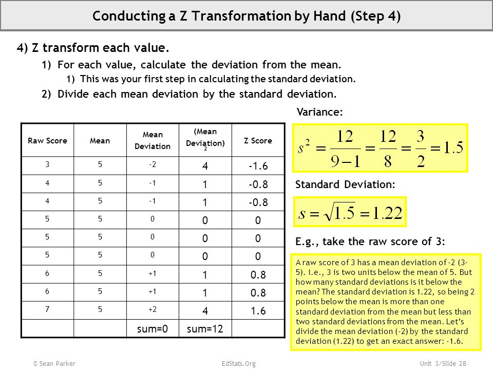 Unit 3/Slide 28 Conducting a Z Transformation by Hand (Step 4) 4) Z transform each value.
