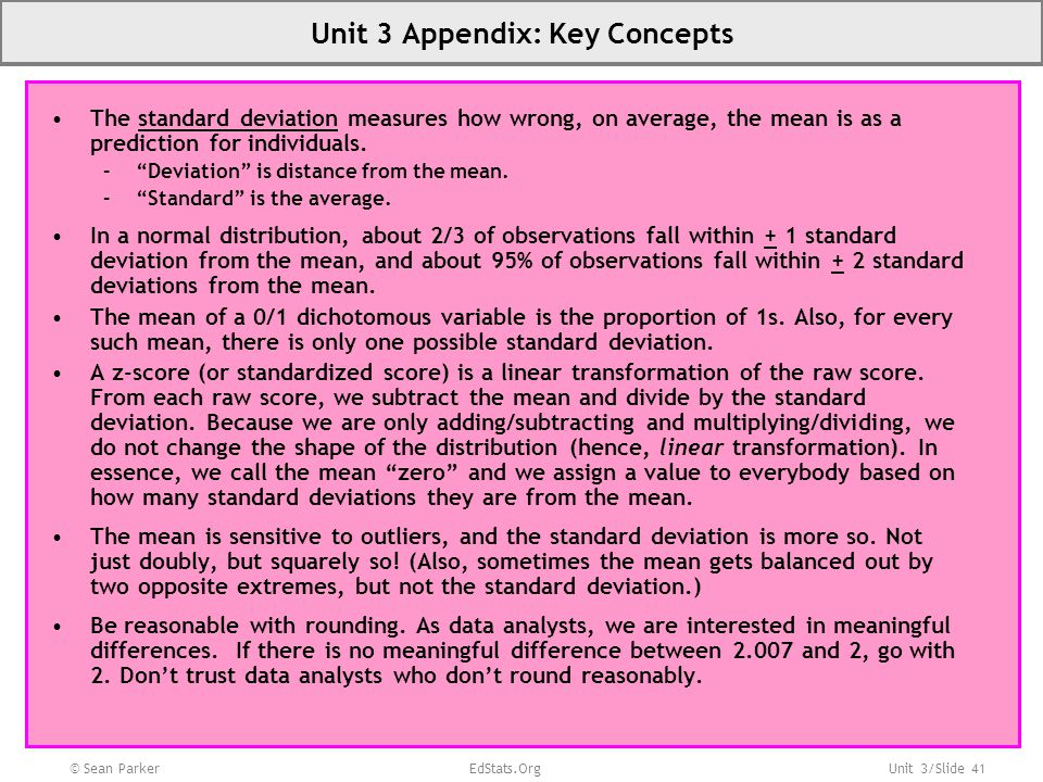 Unit 3/Slide 41 © Sean Parker EdStats.Org Unit 3 Appendix: Key Concepts The standard deviation measures how wrong, on average, the mean is as a prediction for individuals.