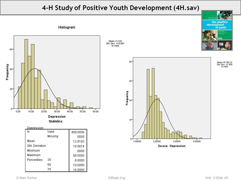 Unit 3/Slide 69 © Sean Parker EdStats.Org 4-H Study of Positive Youth Development (4H.sav)