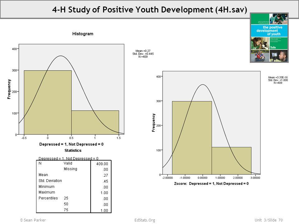 Unit 3/Slide 70 © Sean Parker EdStats.Org 4-H Study of Positive Youth Development (4H.sav)