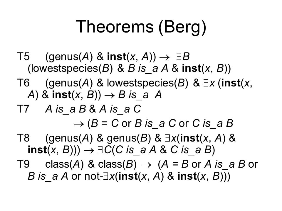 Theorems (Berg) T5(genus(A) & inst(x, A))   B (lowestspecies(B) & B is_a A & inst(x, B)) T6(genus(A) & lowestspecies(B) &  x (inst(x, A) & inst(x, B))  B is_a A T7A is_a B & A is_a C  (B = C or B is_a C or C is_a B T8(genus(A) & genus(B) &  x(inst(x, A) & inst(x, B)))   C(C is_a A & C is_a B) T9class(A) & class(B)  (A = B or A is_a B or B is_a A or not-  x(inst(x, A) & inst(x, B)))