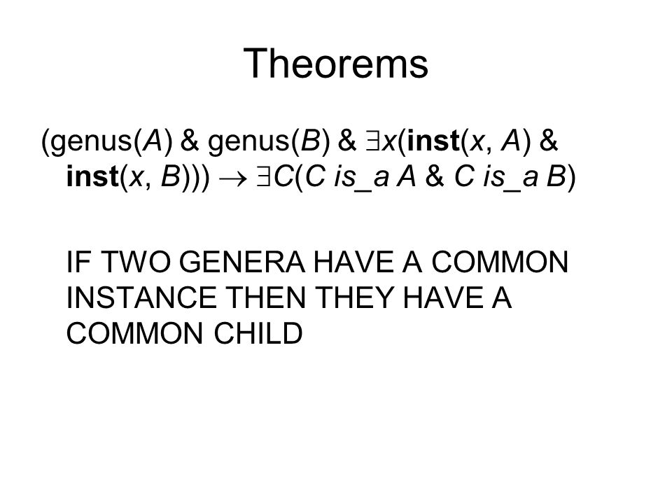 Theorems (genus(A) & genus(B) &  x(inst(x, A) & inst(x, B)))   C(C is_a A & C is_a B) IF TWO GENERA HAVE A COMMON INSTANCE THEN THEY HAVE A COMMON CHILD